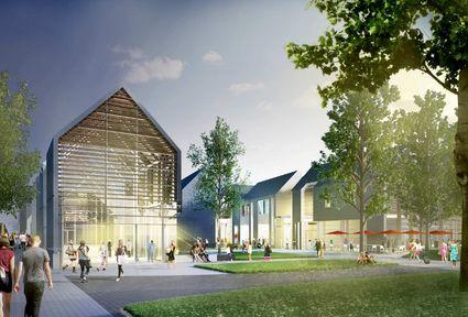 Außenansicht des geplanten Designer Outlet Centers in Lennep mit vielen Bäumen und Sitzmöglichkeiten, wo sich viele Personen aufhalten.